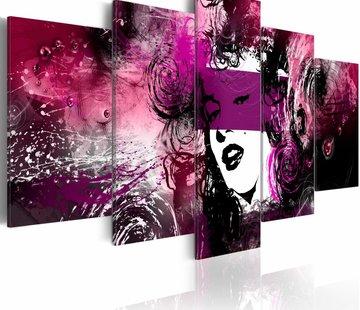 Schilderij - Abstracte Marilyn Monroe in paars