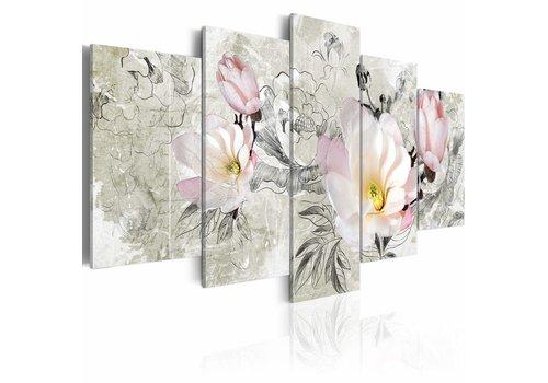 Schilderij - magnolia - retro stijl