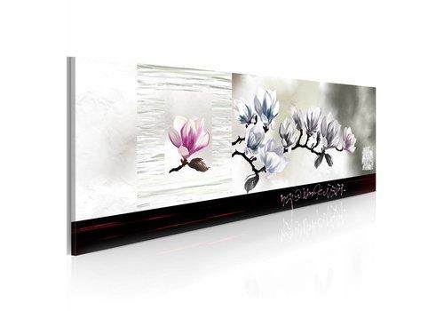 Schilderij - Magnolia ontwaken 120x40cm