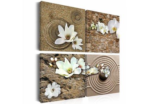 Schilderij - Witte bloemen en zen