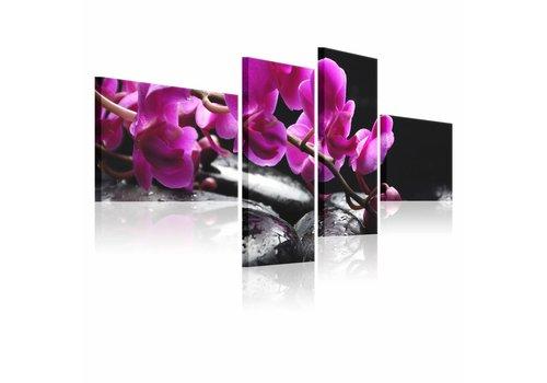Schilderij - Roze orchidee en zen stenen