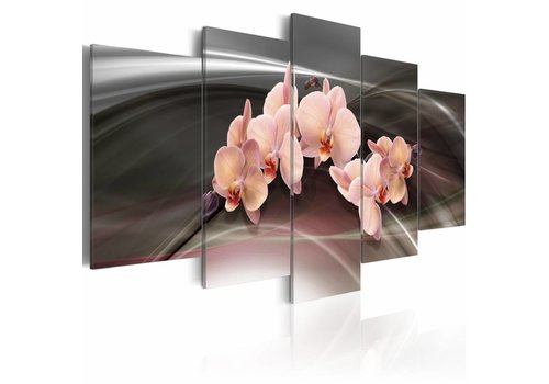 Schilderij - Roze orchidee op een donkere achtergrond