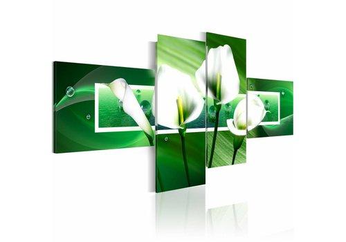 Schilderij - Witte callas met groen