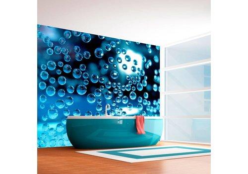 Fotobehang - Blauw water met bubbels