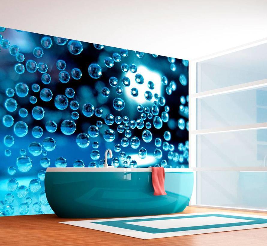 Fotobehang - Blauw water met bubbels, badkamer