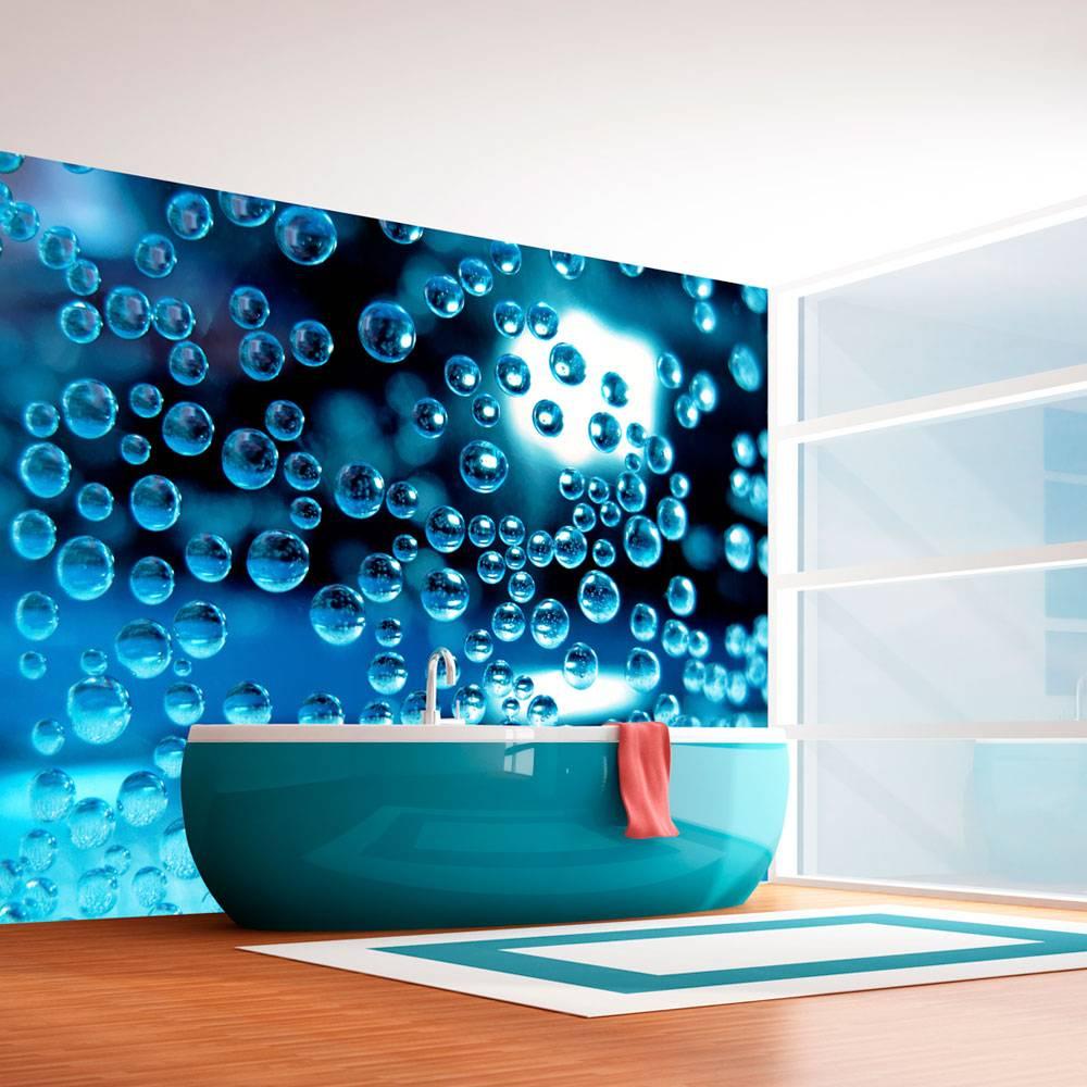 Fotobehang - Blauw water met bubbels, badkamer - Karo-art VOF
