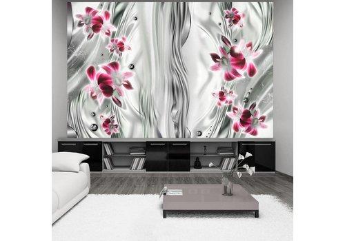 Fotobehang - Roze orchidee  in platinum