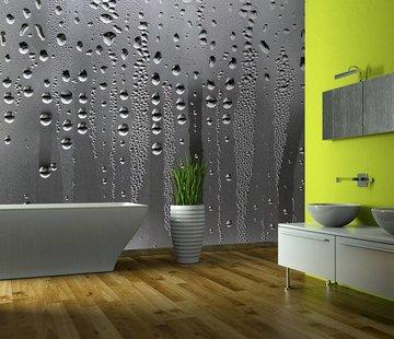 Fotobehang - Regen op glas