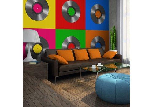 Fotobehang - Vinyl plaat (pop art)