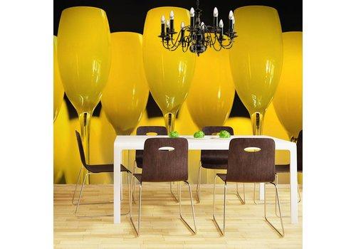 Fotobehang - Wijn glazen, geel