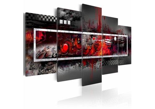 Schilderij - Grijze elegantie met rode aspecten
