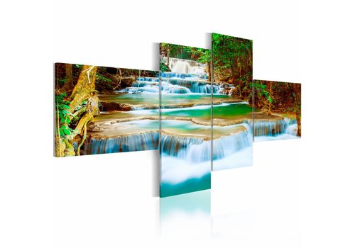 Schilderij - Waterval in vier delen