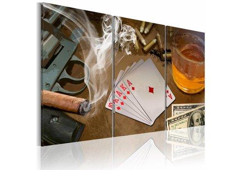 Schilderij - Drank, sigaar en poker