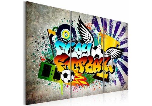 Schilderij - Football fever, Voetballen Graffiti