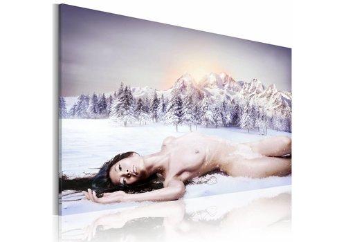 Schilderij - Vrouw in de sneeuw