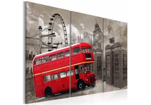 Schilderij - Red bus, dubbeldekker