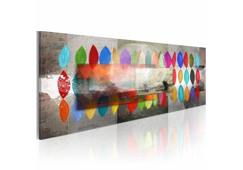 Schilderij - Vormen en kleuren  120x40cm