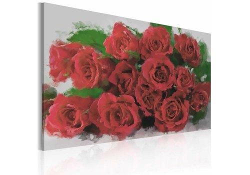 Schilderij - Boeket rode rozen