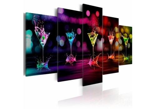 Schilderij - Cocktails in verschillende kleuren