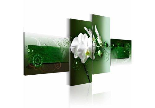 Schilderij - Witte orchidee op Groen