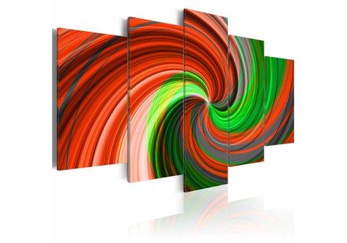 Schilderij - Rood groene draaikolk
