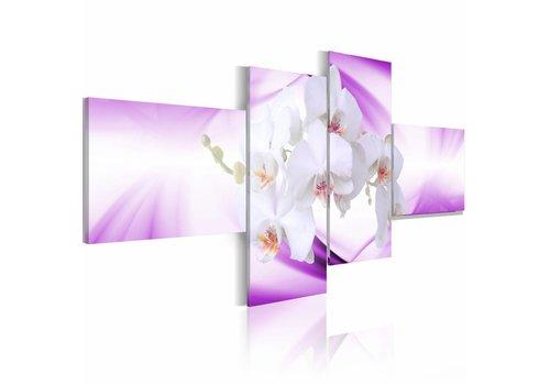Schilderij - De subtiliteit van een orchidee in paars