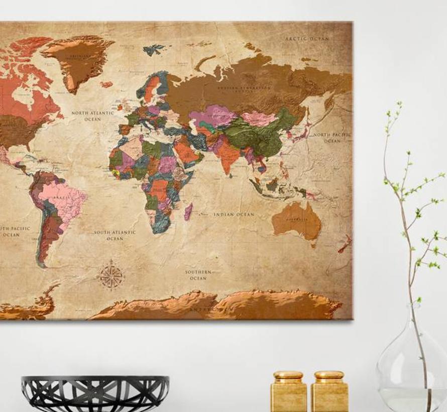 Afbeelding op kurk - World Map: Brown Elegance, wereldkaart