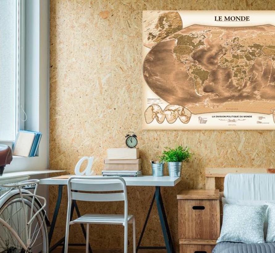 Afbeelding op kurk - LE MONDE , wereldkaart