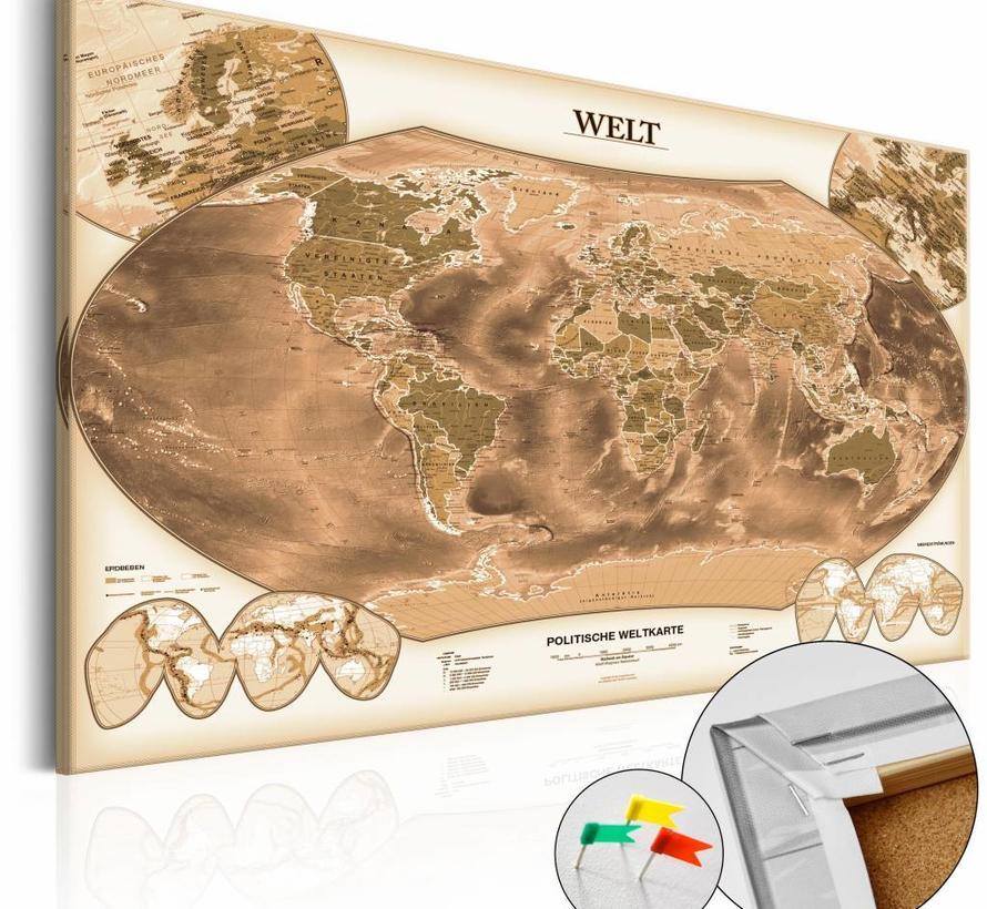 Afbeelding op kurk - WELT , wereldkaart