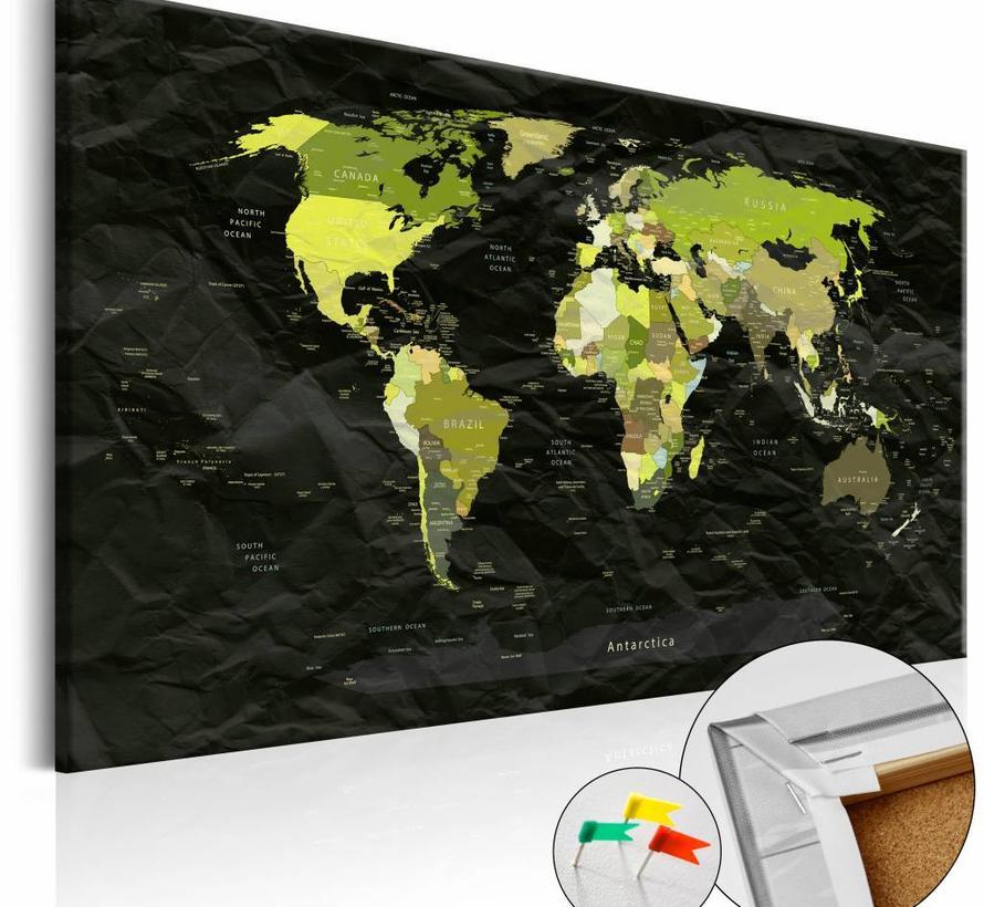 Afbeelding op kurk - Moderne Jungle, wereldkaart