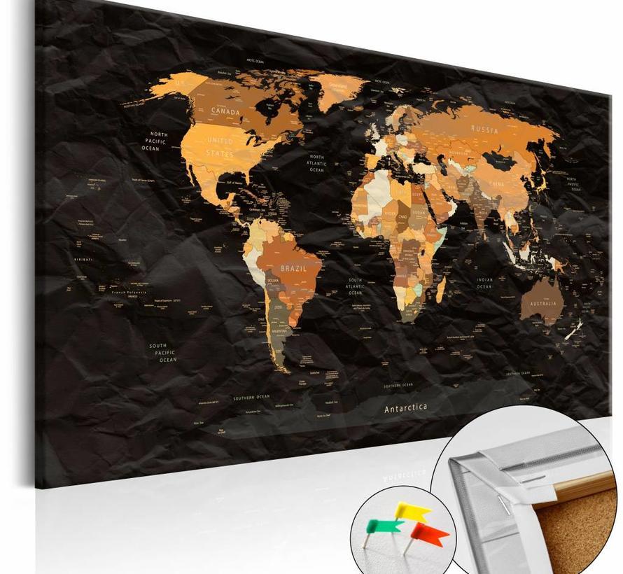 Afbeelding op kurk - Eindeloze reis, wereldkaart