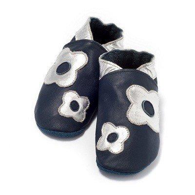 Baby Dutch babyslofjes bloem blauw zilver