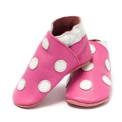 Baby Dutch babyslofjes roze met witte stippen