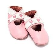 Baby Dutch babyslofjes open hartjes roze