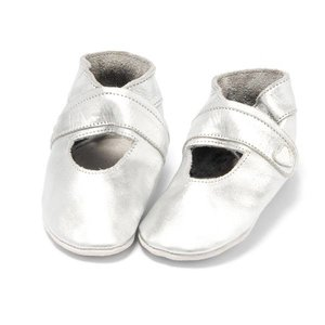 Baby Dutch babyslofjes open zilver
