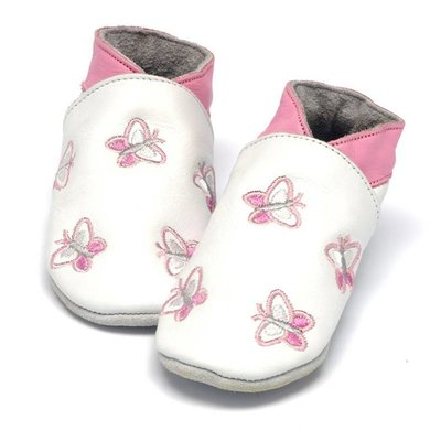 Baby Dutch babyslofjes vlinder wit
