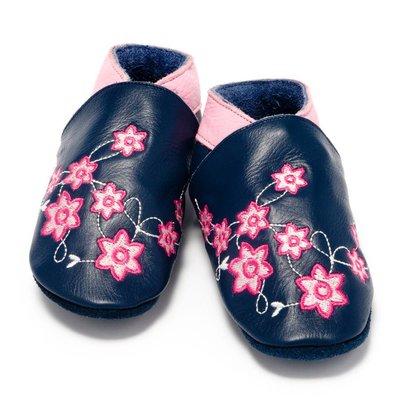 Baby Dutch babyslofjes bloem marine