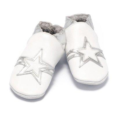 Baby Dutch babyslofjes wit zilver ster