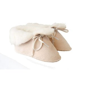 Baby Dutch wollige winterslofjes beige