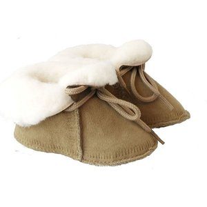 Baby Dutch wollige winterslofjes taupe