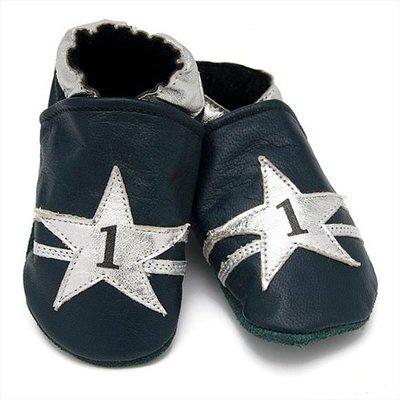 Baby Dutch babyslofjes blauw ster zilver