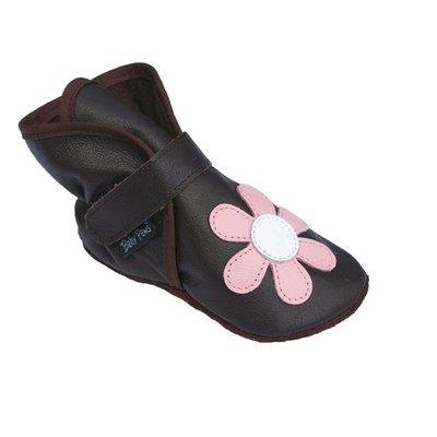 Baby Paws babyslofjes Wrapz donkerbruin met roze bloem