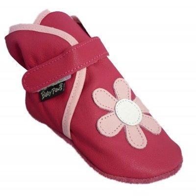 Baby Paws babyslofjes Wrapz fuchsia met roze bloem