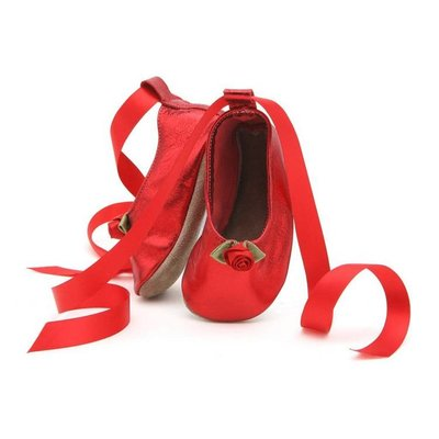 Starchild babyslofjes ballerina red metallic