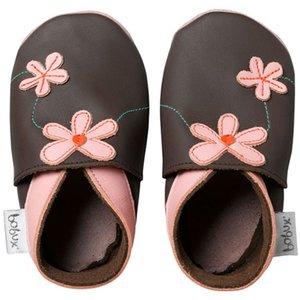 Bobux babyslofjes bloempjes roze bruin
