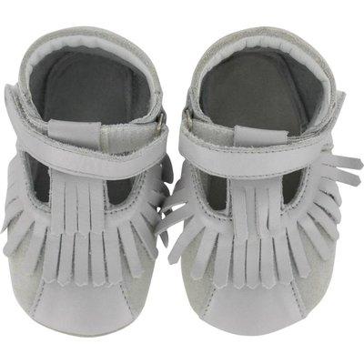 Oxxy babyslofjes franjes open zilver