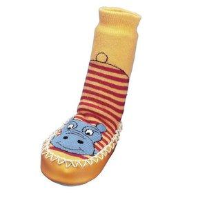 Playshoes soksloffen nijlpaard rood