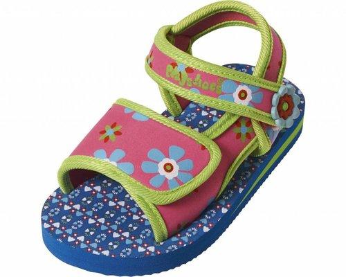 Playshoes Watersandaaltjes Blauw Roze Bloem