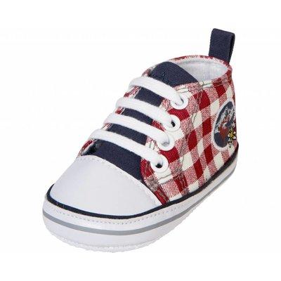Playshoes sneakertjes geruit marine rood