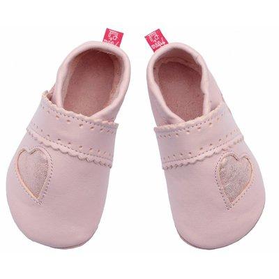 Anna und Paul babyslofjes Glitzerherz rosa